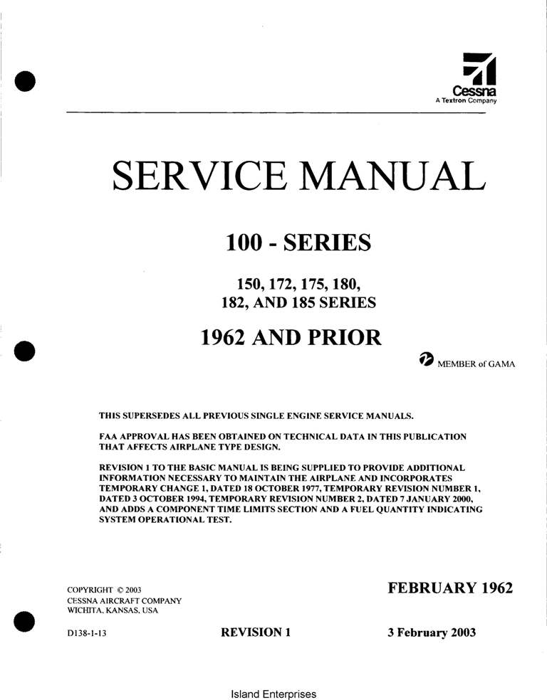 Cessna Model 100 185 Series 1953 1962 Service Manual 1962 And Prior D138R1 13