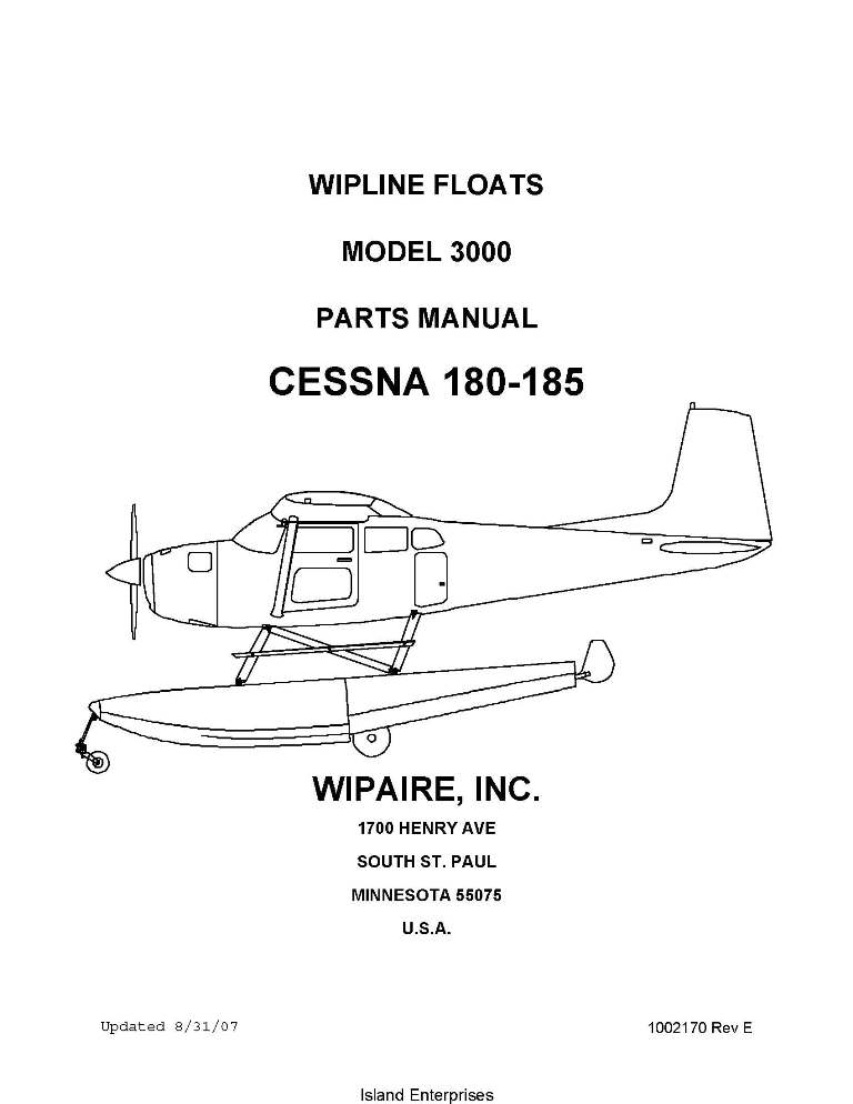 Cessna 180-185 Wipline Model 3000 Floats Parts Manual 2007