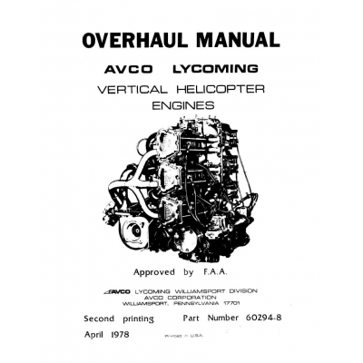 Lycoming Overhaul Manual 60294 8 VO 360 IVO 360 VO 435