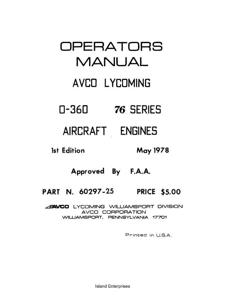 Lycoming Operator S Manual Part 60297 25 1 O 360 76 Series