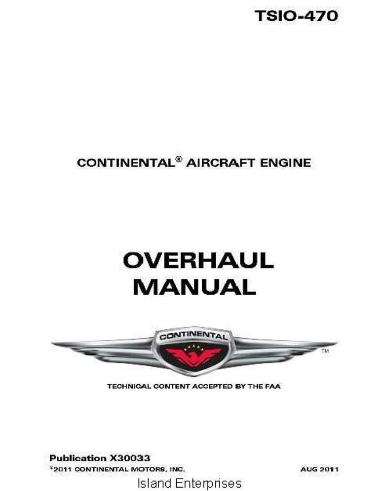 Continental Model TSIO 470 Series Engine Overhaul Manual X30033