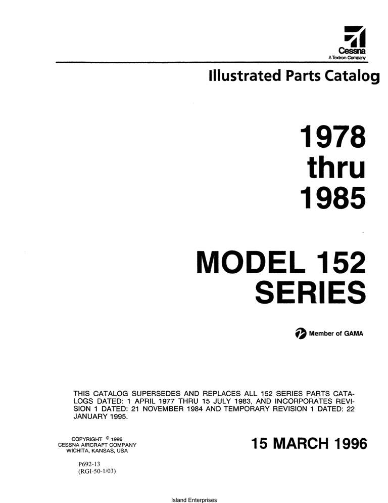 Cessna Model 152 Series Illustrated Parts Catalog (1978 Thru 1985) P692-13